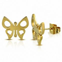 Boucles d'oreilles papillon à découper en acier inoxydable plaqué de couleur d'or (paire)