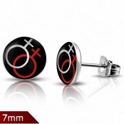 7mm  Acier inoxydable 4 tons tonalité de sexe féminin Symbole Cercle Cercle (paire)