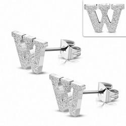 Boucles d'oreilles Alphabet W sablées en acier inoxydable (paire)
