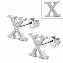 Boucles d'oreilles Alphabet X sablées en acier inoxydable (paire)