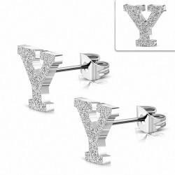 Boucles d'oreilles Alphabet Y sablées en acier inoxydable (paire)