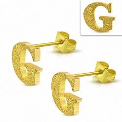 Boucles d'oreilles clous en alphabet sablé G en acier inoxydable plaqué de couleur d'or (paire)