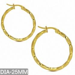 DIA-25MM |Boucles d'oreilles à clip en acier inoxydable doré avec boucle torsadée (EHE160)