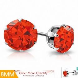 8mm |Boucles d'oreilles en acier inoxydable avec rondelles et goupilles en acier inoxydable avec CZ Jacinthe orange (paire)