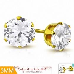3mm |Boucles d'oreille rondes en acier inoxydable doré avec rondelle et serti de diamants (paire)