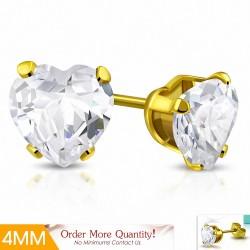 4mm |Boucles d'oreille en forme de coeur en forme de coeur en acier inoxydable doré avec  Clear CZ (paire)