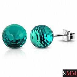 8mm |Boucles d'oreilles en acier inoxydable avec boules de verre et zircon bleu (paire)