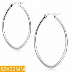 52x32mm  Boucles d'oreilles à clip ovales plates en acier inoxydable (paire)