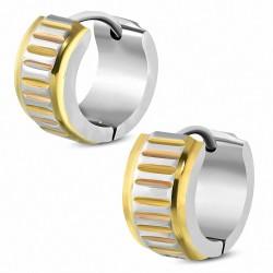 7mm |Boucles d'oreilles créoles Step-Edge en acier inoxydable à coupe de diamant à 3 tons (paire)