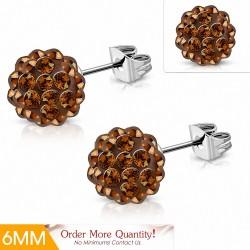 6mm  Boucles d'oreilles Shamballa en acier inoxydable Argil Disco Ball avec topaze fumée CZ (paire)
