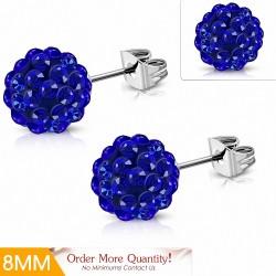 8mm  Boucles d'oreilles Shamballa en acier inoxydable Argil Disco Ball avec capri bleu CZ (paire)