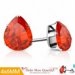 4x6mm  Boucles d'oreilles clous en acier inoxydable avec poire / larme et jacinthe orange CZ (paire)