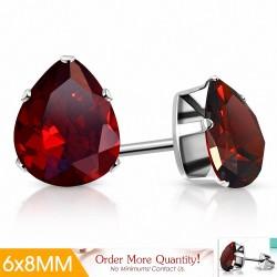 6x8mm |Boucles d'oreilles clous en acier inoxydable avec poire / larme en forme de pince / larme avec lumière Siam Red CZ