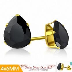 4x6mm |Boucles d'oreilles clous en acier inoxydable doré avec pinces et gouttes en forme de griffes avec noir de jais CZ