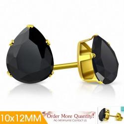 10x12mm |Boucles d'oreilles clous en acier inoxydable doré avec pinces et gouttes en forme de griffes avec noir de jais