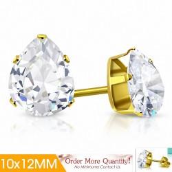 10x12mm |Boucles d'oreilles poire / goutte d'eau en acier inoxydable doré avec pinces / gouttes en doré (paire)