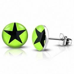 7mm |Boucles d'oreilles clous cercle en étoile vert clair à 3 tons en acier inoxydable (paire)