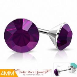 4mm |Boucles d'oreille rondes en acier inoxydable avec cristaux Stellux améthyste (paire)