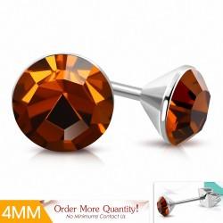 4mm |Boucles d'oreilles à cercle rond en acier inoxydable serti de cristaux de Stellux à topaze fumée (paire)