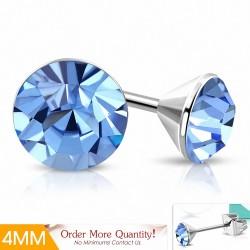 4mm |Boucles d'oreille rondes en acier inoxydable avec cristaux de Stellux saphir clair (paire)