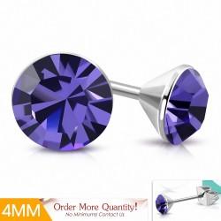 4mm |Boucles d'oreilles à cercle rond en acier inoxydable avec cristaux Stellux violets / violets (paire)