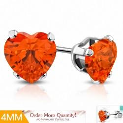 4mm |Boucles d'oreilles en forme de coeur en forme de coeur en acier inoxydable avec coeur en jacinthe orange CZ (paire)