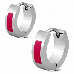 4mm  Boucles d'oreilles créoles Huggie en barre en acier inoxydable émaillé rouge mat (paire)