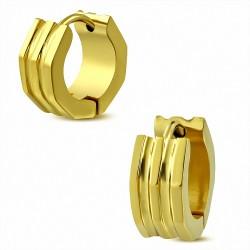 6mm |Boucles d'oreilles Huggie côtelées fantaisie côtelées en acier inoxydable doré (paire)