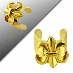 Boucle d'oreille supérieure d'oreille manchette en forme de fleur de lis en acier inoxydable doré