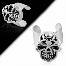 Boucle d'oreille de motard d'oreille supérieure avec manchette de crâne en acier inoxydable