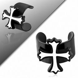 Boucle d'oreille supérieure d'oreille en forme de manchette en croix Fleur De Lis en acier inoxydable noir