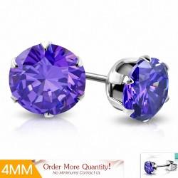 4mm |Boucles d'oreille rondes en acier inoxydable avec cercle et broche en forme de zirconium avec cZ violet / violet (paire)