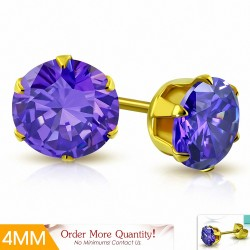 4mm |Boucles d'oreille rondes en acier inoxydable doré avec rondelles et clouss en argent doré - Violet / Violet CZ (paire)