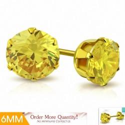 6mm |Boucles d'oreille rondes en acier inoxydable doré avec rondelles et clouss en argent doré (paire)