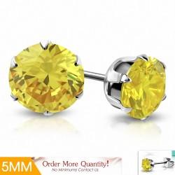 5mm |Boucles d'oreille rondes en acier inoxydable avec pendentif cercle et zircons jaunes (paire)