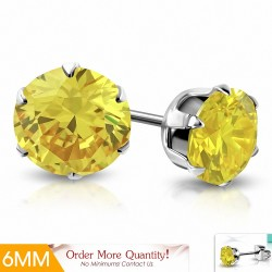 6mm |Boucles d'oreille rondes en acier inoxydable avec pendentif rond et zircons jaunes (paire)