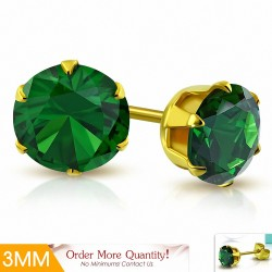 3mm  Boucles d'oreille rondes en acier inoxydable doré avec chaîne en forme de griffe - Emerald CZ (paire)
