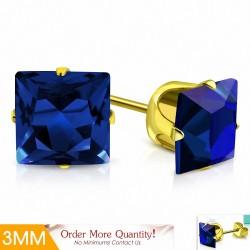 3mm |Boucles d'oreilles clous carrées en acier inoxydable doré avec boutons en acier inoxydable doré avec capri bleu CZ