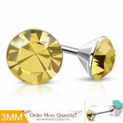 3mm |Boucles d'oreilles avec cercle rond et sertissage en acier inoxydable avec cristaux de Stellux Colorado Topaz clairs