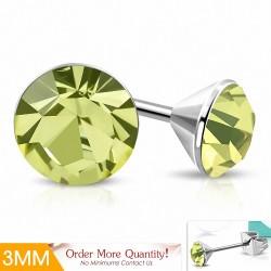 3mm |Boucles d'oreilles en acier inoxydable avec cristaux Jonquil Stellux (paire)