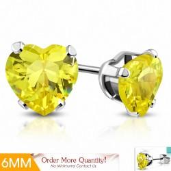 6mm |Boucles d'oreilles en forme de coeur en acier inoxydable avec cœur d'amour avec cz jaune (paire)