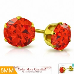 5mm |Boucles d'oreille rondes en acier inoxydable doré avec chaîne en forme de griffe avec zircon orange (paire)