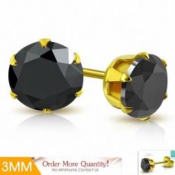 3mm |Boucles d'oreille rondes en acier inoxydable doré avec rondelles et serti de zircons cubiques (paire)
