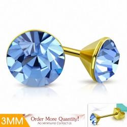 3mm |Boucles d'oreille rondes en forme de lunette sertie de rondelles acier inoxydable doré cristaux de Stellux saphir clair
