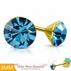 3mm |Boucles d'oreilles clous rondes en acier inoxydable doré avec cristaux