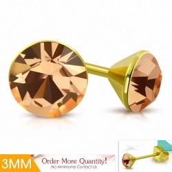 3mm |Boucles d'oreille rondes en acier inoxydable doré avec cristaux et topaze Stellux (paire)