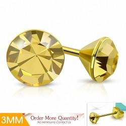 3mm |Boucles d'oreille rondes en forme de lunette sertie de rondelles doré avec cristaux de Topaze