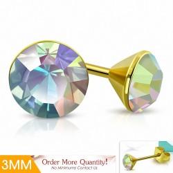3mm |Boucles d'oreilles clous rondes en acier doré avec cristaux
