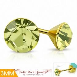 3mm |Boucles d'oreille rondes en acier inoxydable doré avec cristaux