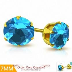 7mm |Boucles d'oreille rondes en acier inoxydable doré avec rondelle et serti de zircons cubiques (paire)